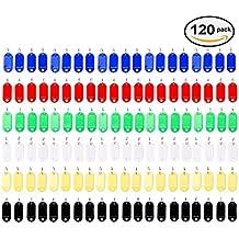 Vancool (120 unidades) Llavero identificador de plástico con Etiquetas para ID Nombre, 6 colores
