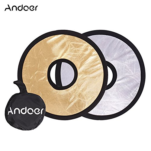 Andoer 30cm 2 in 1 runde Hohle Klapp-Multi-Disc Handkreislichtglas -Mount-Reflektor Silber Goldene