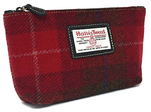 Ladies Harris Tweed Cosmetic Bag in a choice of Colours and Design (Rouge)