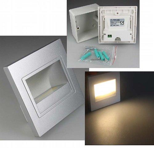 ChiliTec - Foco de pared LED empotrable (LED COB, 1,5 W, luz blanca cálida, 94 x 94 mm, 230 V, IP40, para escaleras, peldaños o pared), color plateado