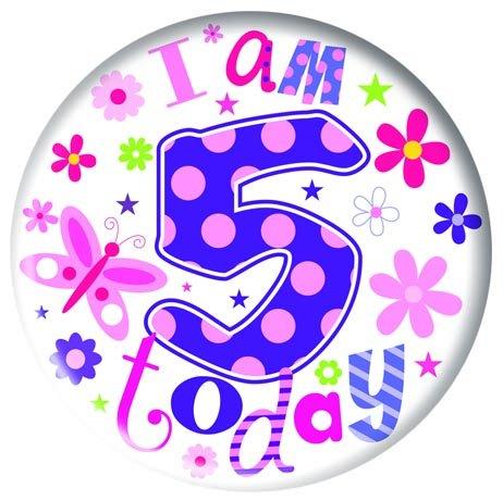 Badge 5cm Happy Birthday Age 5 - Girl Birthday Party Favor