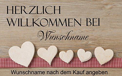 """Herzlich Willkommen ( mit Wunschnamen) 4 \"""" - Fussmatte bedruckt Türmatte Innenmatte Schmutzmatte lustige Motivfussmatte"""