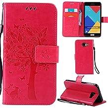 Ooboom® Samsung Galaxy A5 2016 Coque Motif Arbre Chat PU Cuir Flip Housse Étui Cover Case Wallet Portefeuille Support avec Porte-cartes pour Samsung Galaxy A5 2016 - Rose