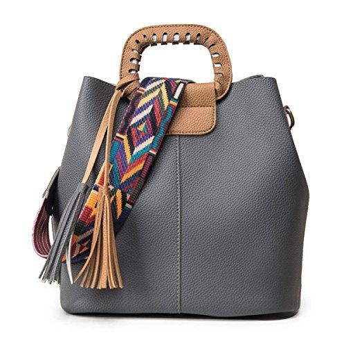 STRAWBERRYER Europa Und Die Vereinigten Staaten Arbeiten Farben-Schulter-Bügel-Dame-Schulter-Beutel-Tassel Hand Messenger Bag,Grey-OneSize