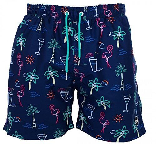 Happy Shorts Herren Badeshorts Strandshorts Shorts Cocktail Druck blau S - XXL, Gr�sse:XL - 7-54, Farbe:marine (Sieben Meere-cocktail)