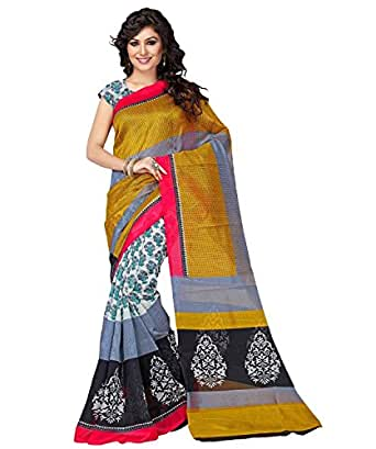 Binny Creation Women's Cotton Saree With Blouse Piece (Binny_Maysur,Multicolor ,Free Size)