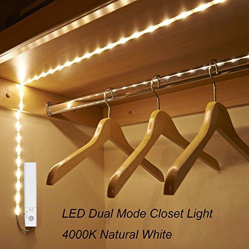 Led wardrobe lights amazon amagle flexible 328ft 4000k natural white dual mode led strip light motion sensor activated lighting for kitchen drawer stairs workwithnaturefo