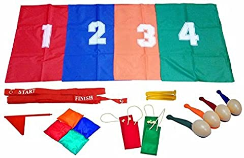 School Sports Day Set Childrens Traditional Outdoor Games Egg & Spoon Sack Race