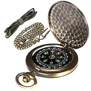 AYOUYA Kompass Outdoor Messing Taschenkompass mit Kette und Halsband, Antiker Taschenuhren Kompass, Sprungdeckel…