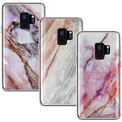 CLM-Tech Hülle 3X kompatibel mit Samsung Galaxy S9, TPU Silikon-Hülle Case Schutzhülle Handyhülle 3er Set, Marmor lila Mehrfarbig -
