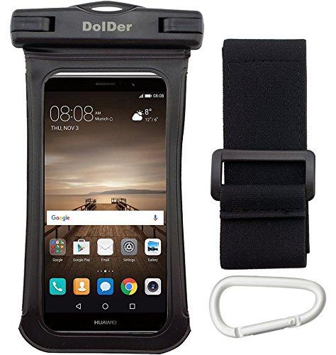 DolDer Premium Wasserdichte Handyhülle Tasche mit Side Window für iPhone 7/6S/SE/5S, Samsung Galaxy S7/S6/S5/A3/J3, Sony Xperia XA/XA1/X Compact/Z5 Compact/Z3 Compact, HUAWEI P8 LITE/Honor 6/Y3II/Y5II Schwarz