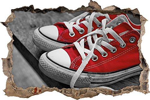 Pixxprint 3d wd 5242 92x62 coole rote chucks schuhe for Poster wanddurchbruch