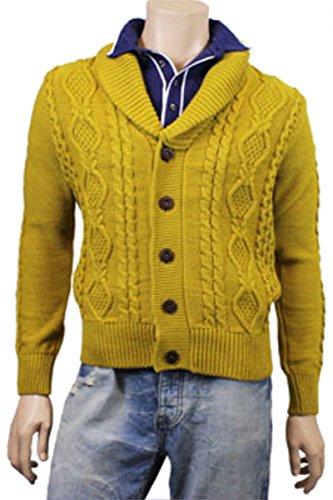 Herren Strickjacke Pullover Cardigan Zopfmuster Camel Braun Business Norweger sehr warm Mustard