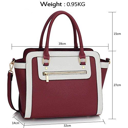TrendStar Frau Des Faux Leder Handtasche Neu Damen Schulter Taschen Für Leinentrage Entwerfer Stil Berühmtheit Des Faux Leder A - Burgund/Weiß