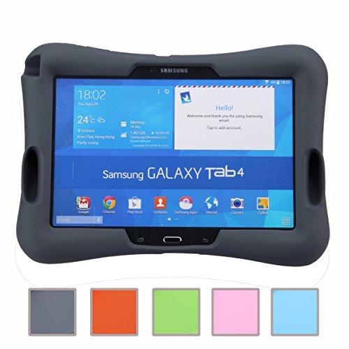NEWSTYLE Samsung Galaxy Tab 4 10.1 Kinderfreundliche Silikon Hülle Schutzhülle Tasche Case für Samsung Tab 4 SM-T530/T531/T535 Tab 3 GT-P5200 P5210 P5220 (10,1 Zoll) - Schwarz (Tab 4 Kind Galaxy Case)