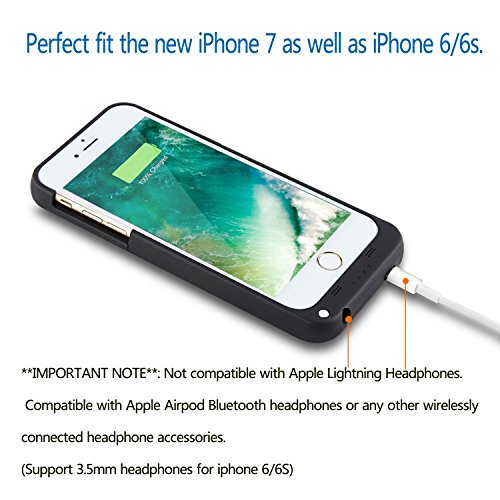 Batteria Cover iPhone 8 / iPhone 7 4.7, PEMOTech® 3200mAh Custodia Cover Protettiva con Batteria Esterna per iPhone 8, iPhone 7, iPhone 6, iPhone 6s 4.7, Cover batteria Power Bank con batteria integ Nero