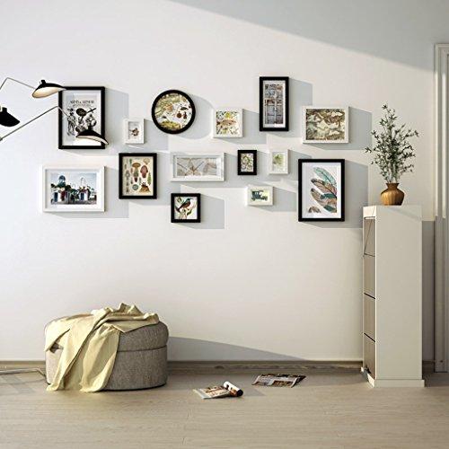 Cadres photo en bois de pin, cadres photo noir et blanc fond mur photo combinaison/avec des images, ensemble de 14 cadres @The harvest season (Couleur : White+black)