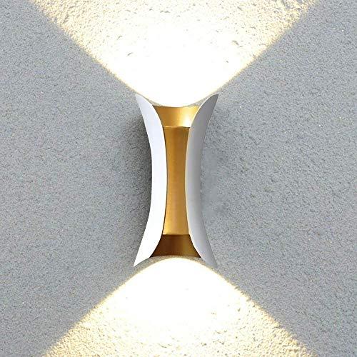10W LED Strahler Außen Leuchten Wandstrahler Innen Aussen Wandleuchten Weiß Gold Aluminum Wasserdichte Leuchte Up Down Beleuchtung Balkonlampe Wandlampe Warmweiss Licht - Leuchte Wandleuchte Licht