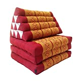 Traditionelles Thailändische Kapok 3Fold Meditation Matratze mit Oriental Stil Triangle Liege Kissen für Yoga Massage oder Entspannung Copper, Burgundy