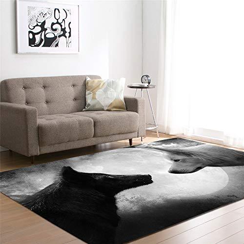 Mengjie Modern Flauschiger Hochflor Shaggy Einfarbig Teppich Schwarz Und Weiß Wolf 7MM Dickefür Wohnzimmer, Schlafzimmmer, Kinderzimmer, Esszimmer,120 * 160CM