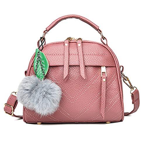 Frauen Schultertasche Fell Ball Dekor Handtaschen Top-Griff Tasche Dark pink 22x11x20cm