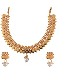 Ganapathy Gems 1 Gram Gold Plated Lakshmi Coin With Pearls Necklace Set For Women