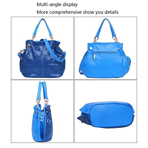 EGOGO Damen Handtasche Leder Henkeltasche Design Serpentine Muster Für Fraun Shopper Tasche Schultertasche E522-3 Blau