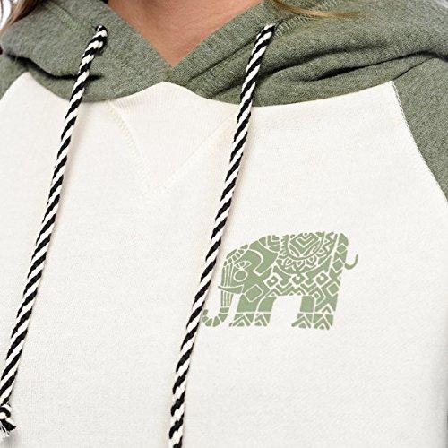 Autunno Stampa Di Elefanti Cuciture Coulisse Maniche Lunghe Tasche Di Canguro Sciolto Felpa Con Cappuccio Green