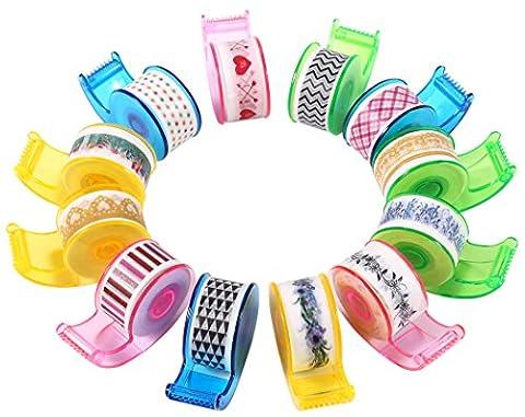 12er Set Washi Klebeband im band spender,12mm x 4.6m auf jede ( Total 55.2 Meters ), plastik Jar mit 12 Stuck-Mini Washi Tape with dispensers