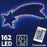 Bakaji Christmas Stella Cometa Luminosa Per Esterno Interno 162 Led Multicolor RGB Con Telecomando Controllo Remoto Giochi Di Luce Illuminazione Luci Natalizie Natale 98 x 40 cm