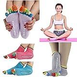 Woogor 2 Pairs Womens 5 Toe Colorful Yoga Gym Non Slip Massage Toe
