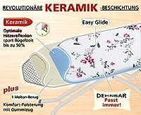 Wenko 1180992500 Bügeltischbezug Universal Keramik Floral Rot - Hightech Hitzereflexion, Easy Glide, Universalgröße für S bis XXL, Baumwolle, Mehrfarbig