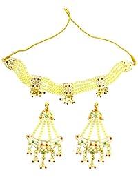 Mehrunnisa Traditional Jadau & Pearls Choker Necklace & Earrings Set For Women (JWL1764)