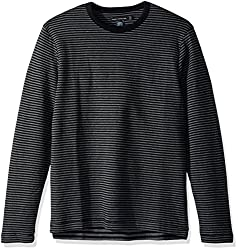 French Connection Mens Double Face Alternative Stripe Longsleeve Tee, Charcoal Melange/Black, XXL