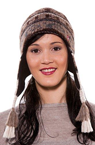 Mütze Damen Winter Alpaka ISLA Ohrenklappen-Inkahaube gestrickt ungefärbt M (Alpaka Strickmütze Chullo)