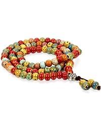 Flongo 6mm Keramik Porzellan Armband Link Handgelenk Halskette Kette Bunt Tibetische Buddhist Buddhistischen Kugel Perle Perlen Buddha Gebet Mala Lieben Valentine Paar Paare Set Herren,Damen