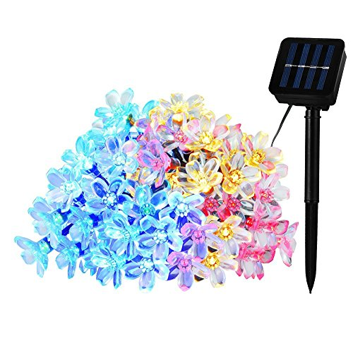 LEDGLE 7M Solar Lichterkette LED Blumen String Licht, 50 LED Lichter,4 Farben 8 Leucht-Modi, 8 Beleuchtungsmodi, IP65 wasserdicht - 2