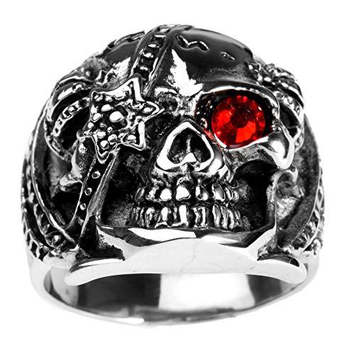 OAKKY Herren Silber Jahrgang Geist Schädel Böser Teufel Ringe Rostfreier Stahl Zirkonia Augen Gotisch Biker Krone an den Seiten Red Größe 54 (17.2)