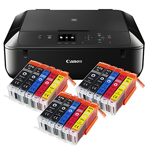 Canon Pixma MG5750 MG-5750 All-in-One Farbtintenstrahl-Multifunktionsgerät (Drucker, Scanner, Kopierer, USB, WLAN, Apple AirPrint) schwarz + 15er Set IC-Office XL Tintenpatronen 570XL 571XL