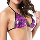 Jaminy Damen Wetlook Dessous Bikini BH Tops Damen Wetlook Clubwear Stretch Unterwäsche Metallische Unterwäsche (Hot Pink, Einheitsgröße)