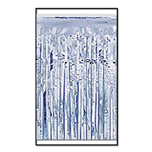Gardinendekoration, 2-lagig, metallisch, 3 m, silberfarben, 6 Stück