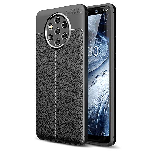 NALIA Cover compatibile con Nokia 9 PureView, Aspetto di Cuoio Custodia Protezione Ultra-Slim Case Protettiva Morbido Cellulare Silicone Gel Gomma Bumper Smartphone Telefono Copertura Sottile - Nero