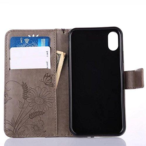 EKINHUI Case Cover Embossing Blumen Horizontale Flip Stand Case Geldbörse Geldbörse mit Lanyard & Soft TPU Cover & Card Slots für iPhone X ( Color : Rosegold ) Gray