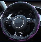 Istn Unisex 2018 Sport Stil Kontrast Farbe rutschfeste Schweiß gute atmungsaktive PU Kunstleder 15 Zoll Auto schwarz Lenkradabdeckung