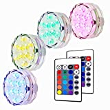 Unterwasser LED Leuchte, Lunsy 4pcs Multicolor RGB 10 LED Schwimmlichter Wasserdicht Lampe Deko Lichter Schwimmleuchtung Beleuchtung für Water Garden, Aquarium, Badewanne Pool und Spa usw.