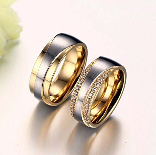 Gnzoe Herren Ringe Verlobungsringe Edelstahl Herrenringe Für Paare Gold Ringe mit Zirkonia 65 (20.7) - 6