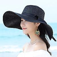LOF-fei Mujer Verano sombrero para el sol ala ancha playa paja plegable,Negro exterior