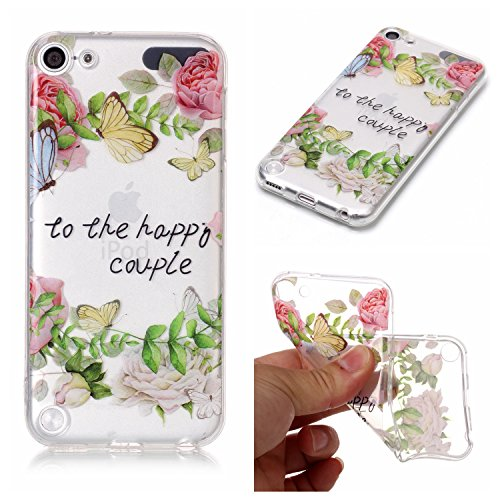 iPod Touch 5 Hülle,iPod Touch 6 Case, iPod Touch 5 / 6 Schutzhülle Case Silikon, Cozy Hut Liquid Crystal Schock Absorption Ultra Dünn Crystal Clear Transparent Handyhülle Cover Soft Premium-TPU Durchsichtige Schutzhülle Backcover Slimcase für iPod Touch 5 / 6 4.0 Zoll - Grünes Blatt stieg Ipod 4 Fällen Stieg
