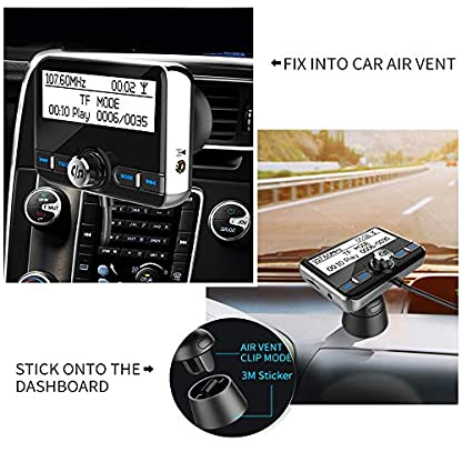 Auto-DAB-Digital-Radio-Bluetooth-V42-QC30-Autoradio-DAB-mit-FM-TransmitterFreisprecheinrichtungBluetooth-AudioMP3-Player-DAB-Car-mit-Dual-USB-Kfz-LadegertTF-PlayAux-Out24-LCD-Display