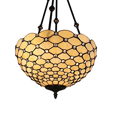 Gweat Tiffany 16-Pouce Retro Européenne Stained Glass Perle Blanche Series Inverted Plafond Salle À Manger Lumineuse Lumière